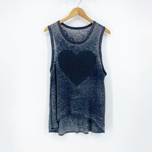Chaser : Gray Burnout Heart Tank Top Small
